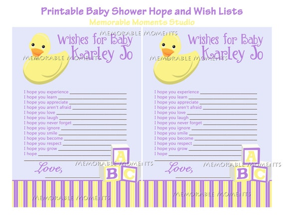 Baby Gift Wish List : Printable wish list rubber ducky baby shower collection