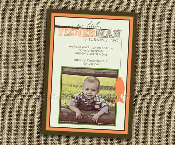 PRINTABLE INVITATIONS Gone Fishing Birthday or Party Invitation - Custom Printable with or without Photo - Memorable Moments Studio