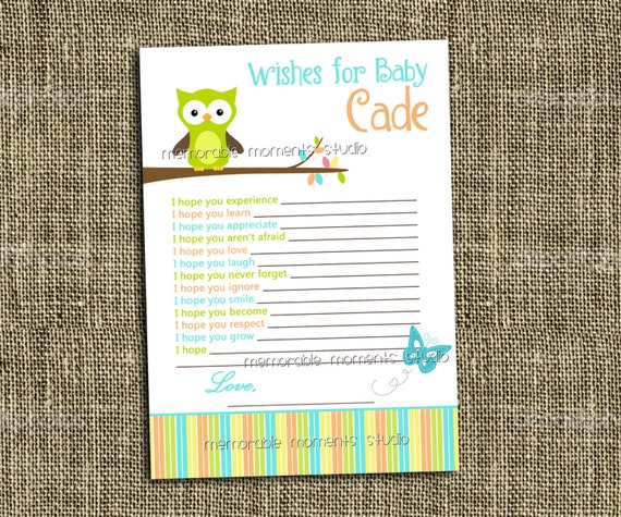 printable wish list owl baby boy shower collection memorable moments