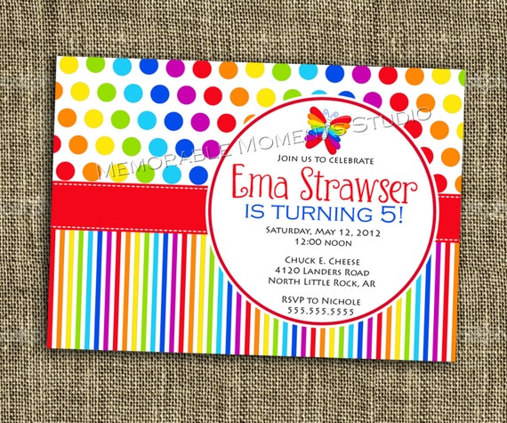 PRINTABLE INVITATION Rainbow Party Collection Bright and