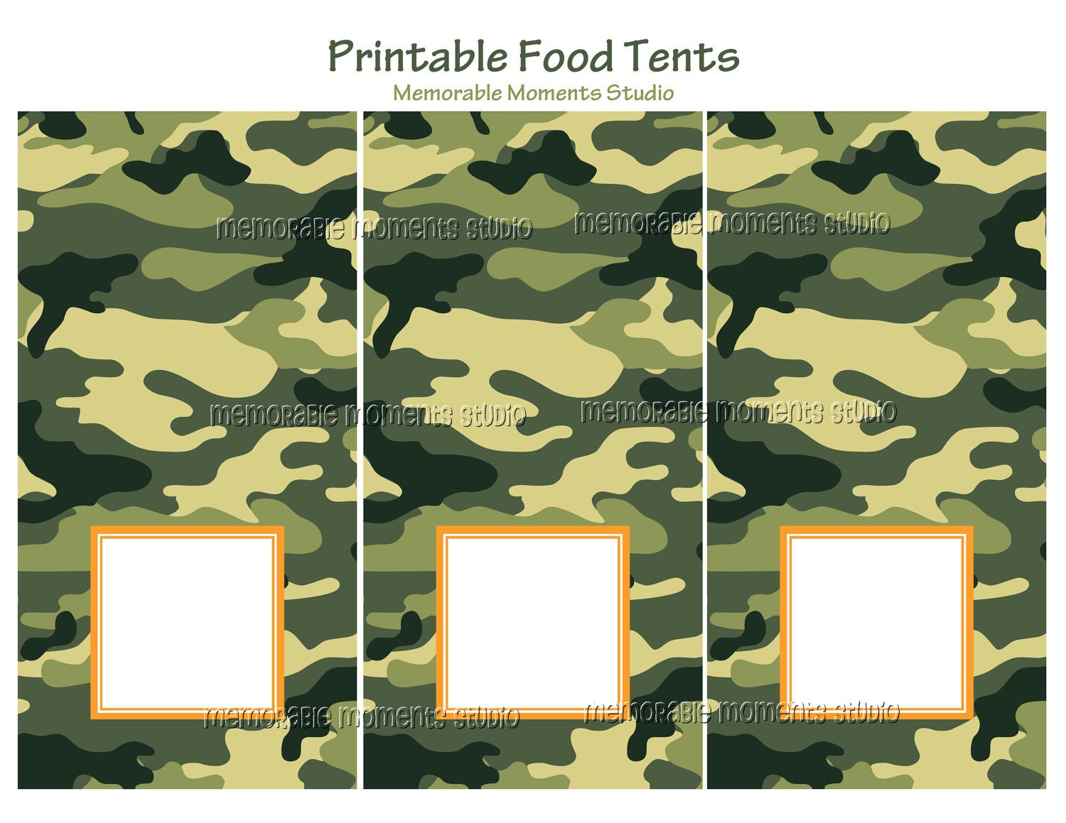 instant download printable food tents camo by memorablemomentsst