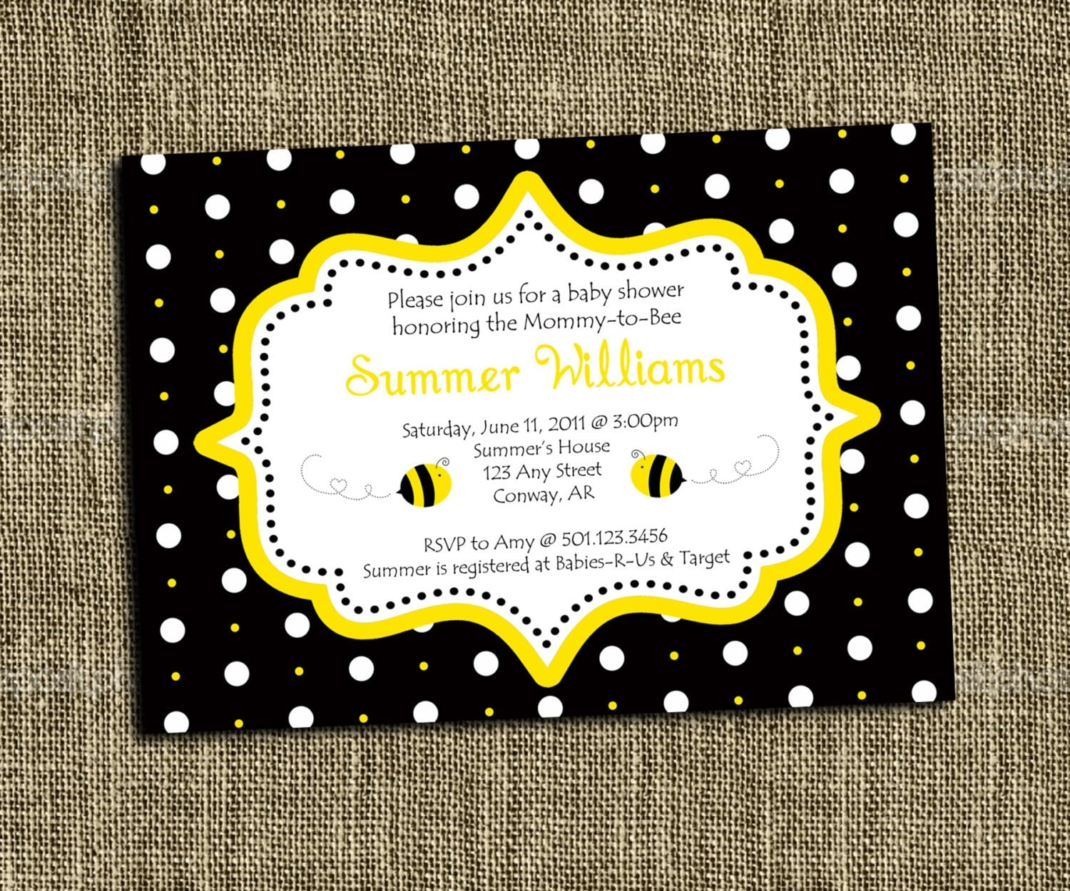 custom printable bumble bee baby shower or party invitation