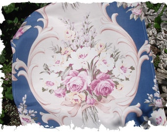 1930s Muted Pink English Rose Bouquet Vintage Scrolled Blue Fabric