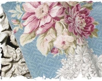 Vintage 1930s 40s Pink Cabbage Roses Floral Vintage Blue Barkcloth Fabric