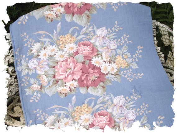 English Rose Summer Bouquet Blue Vintage Twill Fabric