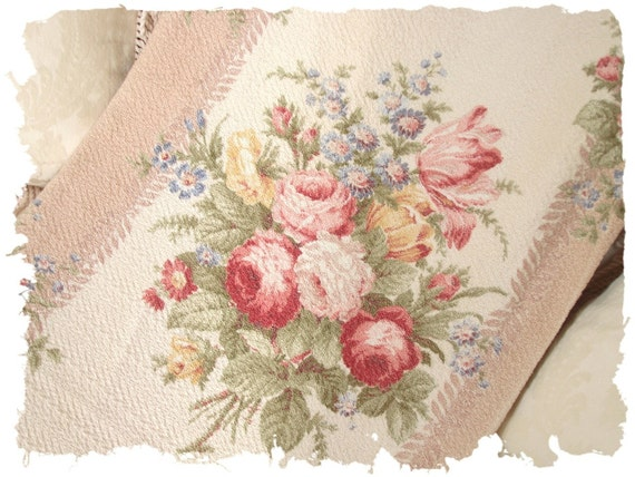 Nubby Mocha Pink Cabbage Rose Vintage Barkcloth Fabric