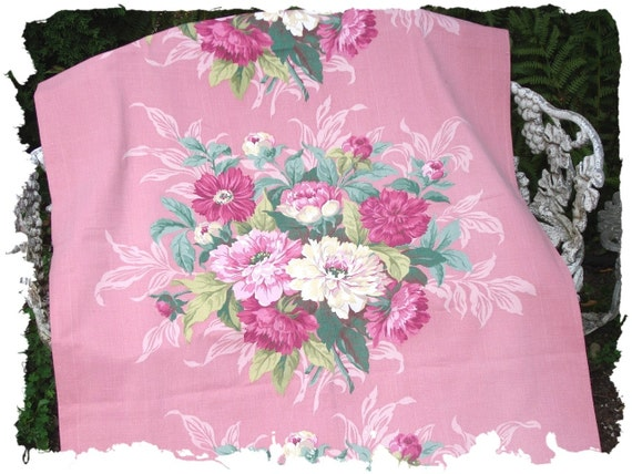 Rare Violet Red Peony Pink Roses Floral Canvas Duckcloth Vintage 1930s Fabric Panel