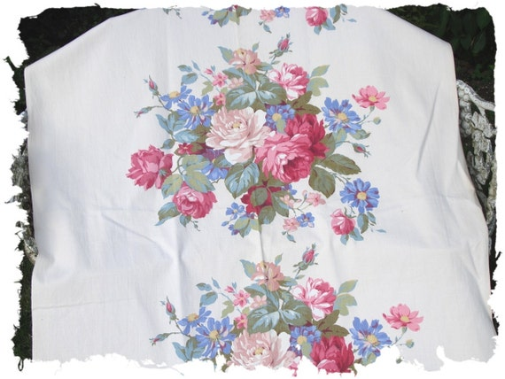 Pink Cabbage Rose Blue Floral Vintage 1930s Canvas Sail Cloth Fabric