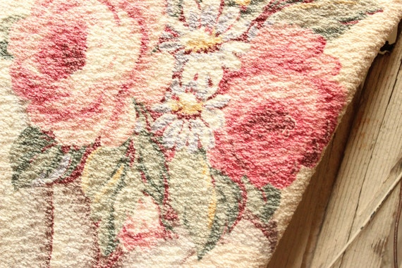 Vintage 1930s Scrolled Pink Cabbage Roses Floral Vintage Barkcloth Fabric Drapery Panel