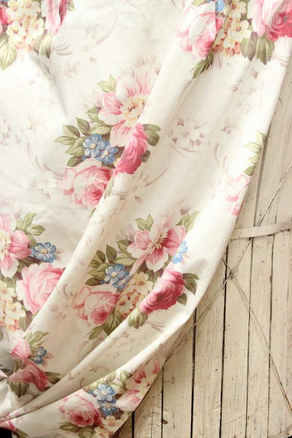 Vintage 1940s Glen Rose Scrolled Pink English Cabbage Rose Floral Barkcloth Off White Fabric Drapery Panels