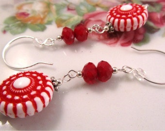 After Christmas Half Off Sale, Candy Cane Earrings -Vintage Lucite Beads