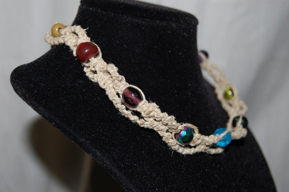 Hemp Choker Multicolored Faceted and Round Beads