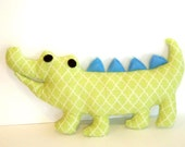 Cobo the green and blue soft toy pillow alligator