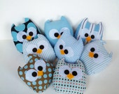3 blue pink colorful or you can choose any color mini owls