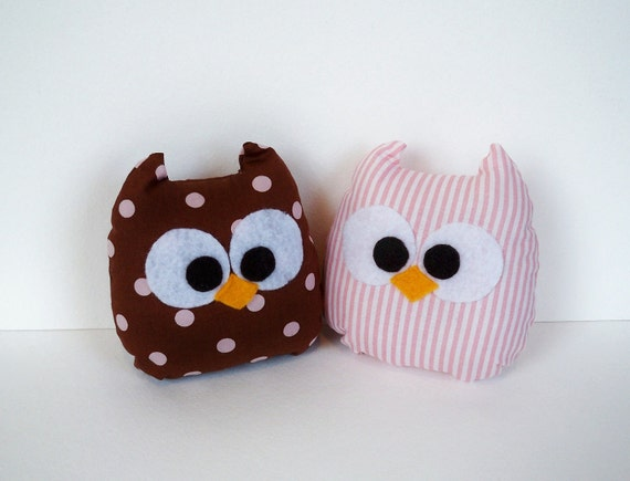 2 lovely plush mini owls toys