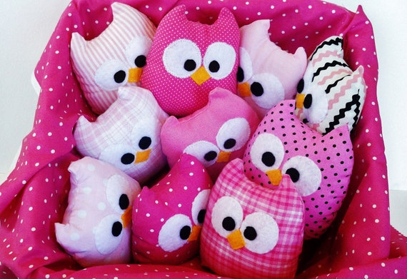 8 adorable pink colorful or blue mini owls, you can choose any color you want