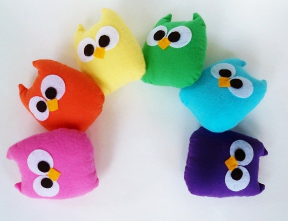 6 adorable rainbow colorful mini owls or you can choose any color you want