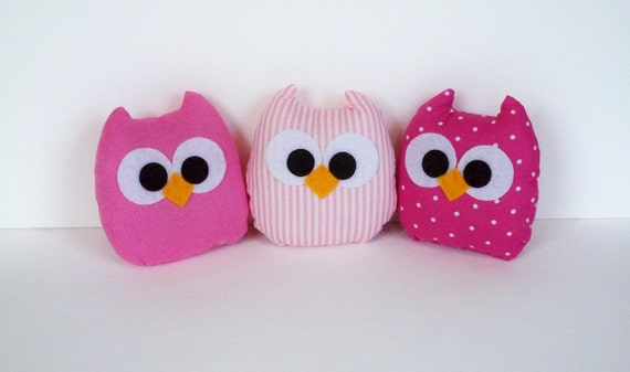 3 lovely light pink, polka dots pink and striped mini owls