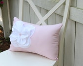 Pink Shabby Chic Pillow with White Fraying Flower and Pink Pearl Accents