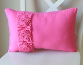 Pink Pillow with Frayed Ruffle and Three Roses