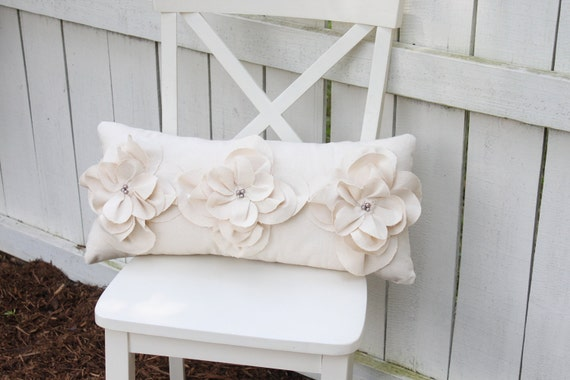 Items similar to Cream Shabby Chic Fraying Flower Pillow with Gray Pearl Accents on Etsy