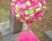 Ribbon Topiary: Strawberry Shortcake in Pinks, Greens, Polka Dots, Stripes