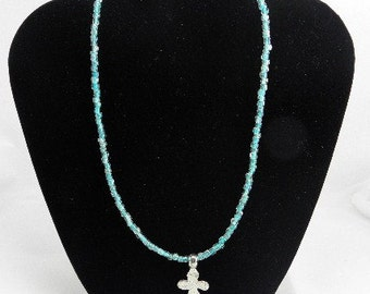 Hammered Silver Cross on Turquoise Necklace REDUCED