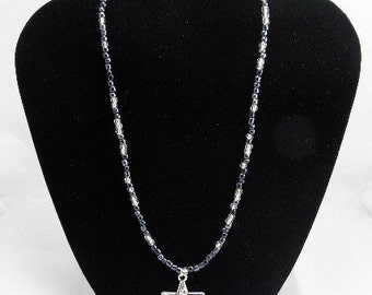 Star on Charcoal and Crystal Necklace REDUCED