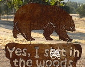 Bear In The Woods Hanging Metal Art Sign