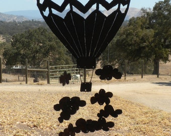 Up, Up & Away ! Hot Air Balloon and Clouds Metal Wind Chime