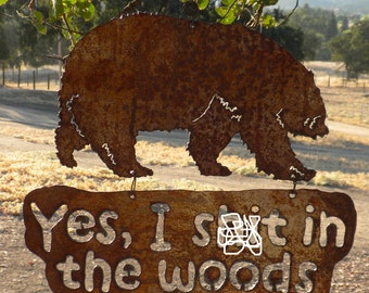 Bear In The Woods Hanging Metal Art Sign Fathers Day