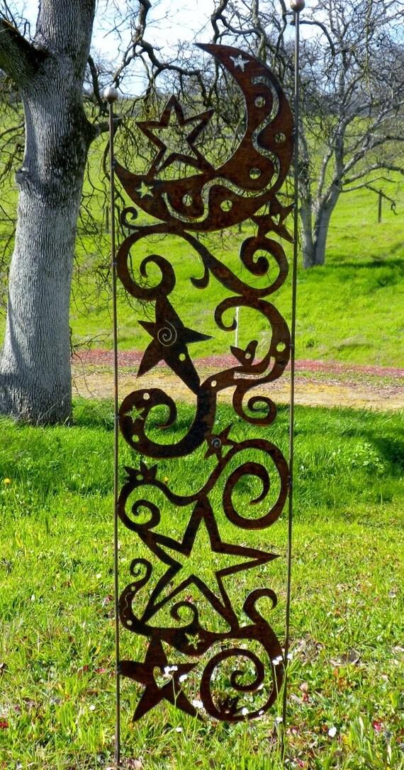 Metal Moon Amp Stars Garden Yard Art Trellis