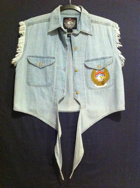 1980's festival  grunge punk rock crop top motorcycle gang  chopper harley bikers image brand fringe jean vest
