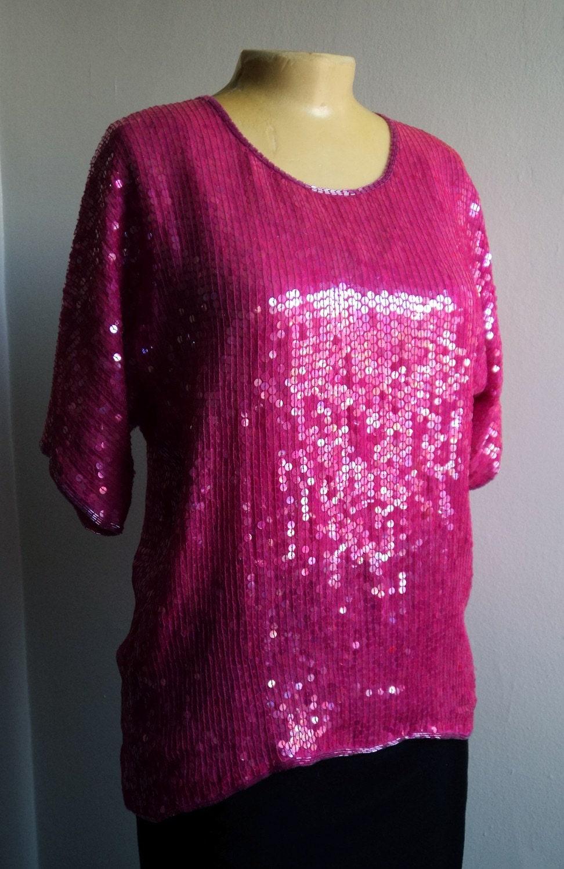 Vintage 80s Hot Pink Liquid Sequin Top Slouchy Shirt Blouse