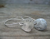 Rustic Hammered Disc earrings - recycled sterling silver hand forged unique dangle earrings, metalsmith jewelry