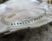 Personalized hand stamped sterling silver bangle,words,names, inspiration, quote, mom,mothers,grandmothers bracelet,  metalsmith jewelry