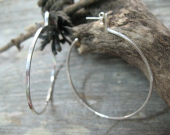 Sterling silver hoop earrings, metalsmith earrings, hand forged hoop earrings, post hoops, metalwork hoops, metalsmith jewelry