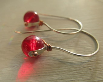 Striking Czech glass earrings - choose color - handmade sterling silver and copper metalwork