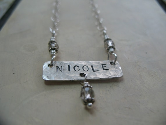 NAME IT necklace - personalized custom hand stamped sterling silver metalwork name tag necklace, I D necklace