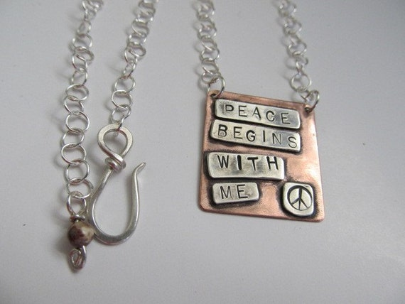 RESERVED Personalized necklace,words,names,quote,inspiration,copper,sterling silver mixed metal, hand stamped, custom metalsmith necklace