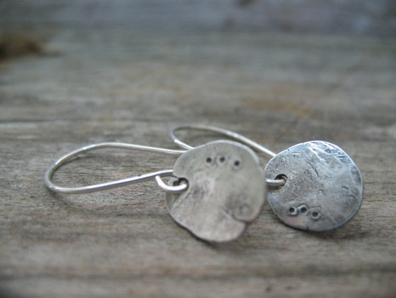 Rustic Hammered Disc earrings - recycled sterling silver hand forged into unique metalwork earrings.