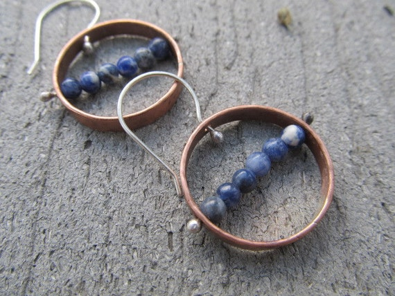 Captured in Copper - hand fabricated, pinned, artisan copper and sterling silver beaded, metalsmith earrings, blue Sodalite stones