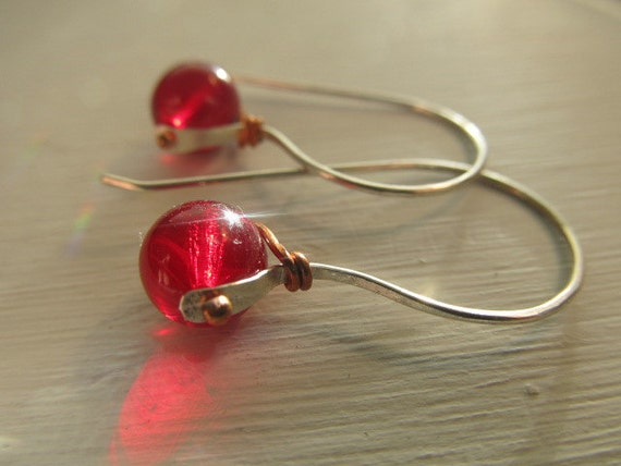 Striking Czech glass pinned earrings - available in many colors - handmade sterling silver and copper metalwork