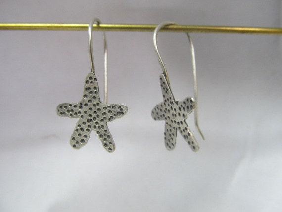 Hold for AB - Handcut Starfish earrings - unique sterling silver hand crafted metalwork earrings