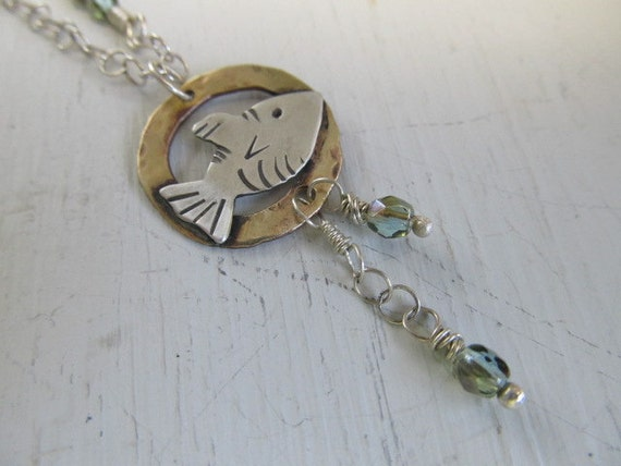 Hold for LB - Original one of a kind Little Fishy necklace - Sterling silver and brass metalwork