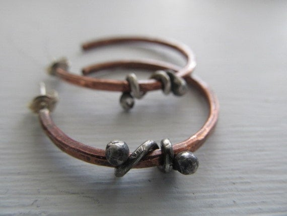 RESERVED for LUCY - Random Wrap Rustic Copper and Sterling Silver handmade metalwork hoops