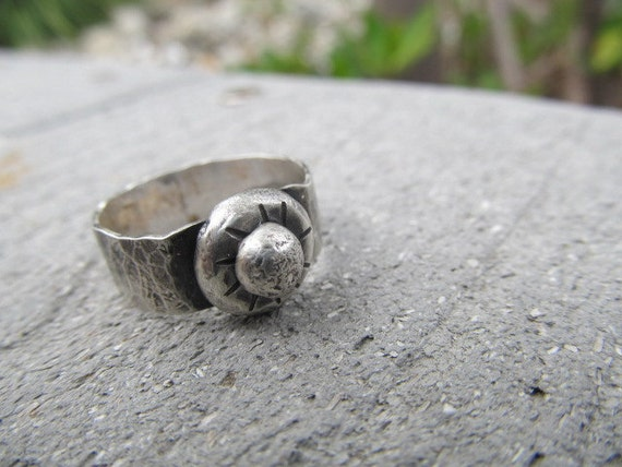 SALE - Chunky Hand Crafted Sterling Silver Ring - hammered, rustic, recycled, raw metalwork and oh so cool