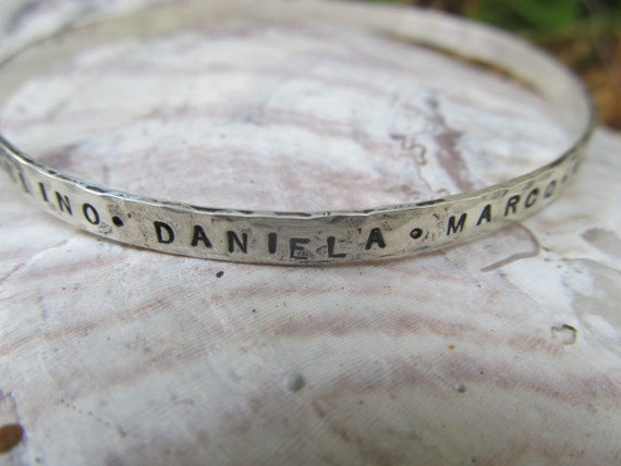 Personalized custom bangle-hand stamped, sterling silver,metalsmith jewelry,words,names,quote,mom,mothers,grandmothers,inspiration bracelet