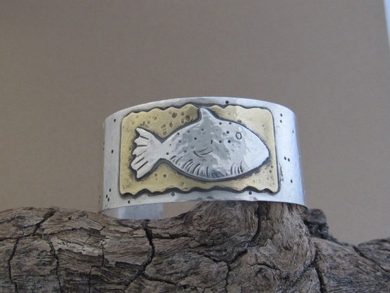 RESERVED FOR DEPOSIT - Swim with the Fishes Cuff  - one of a kind hand crafted sterling silver and brass metalwork cuff bracelet