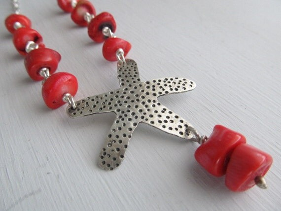 Summer Starfish Necklace - one of a kind handmade Sterling silver starfish with red bamboo coral slices on chunky sterling silver metalwork